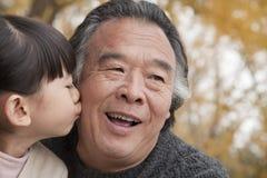 Una ragazza che bacia suo nonno Immagini Stock