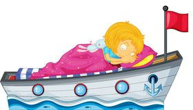 Una ragazza che dorme in una nave con una coperta rosa Fotografie Stock
