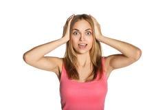 Una ragazza che innesta la sua testa Fotografia Stock Libera da Diritti