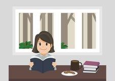Una ragazza che legge un libro illustrazione di stock