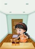 Una ragazza che non imballato il regalo dentro la stanza illustrazione di stock