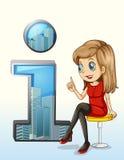 Una ragazza che porta un vestito rosso che si siede accanto ad un simbolo di numero uno Fotografia Stock Libera da Diritti