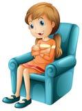 Una ragazza che si siede su una sedia illustrazione di stock