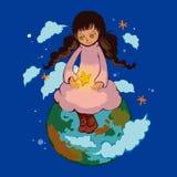 Una ragazza che si siede sul pianeta della terra Fotografie Stock Libere da Diritti