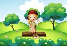 Una ragazza che si siede sul tronco alla collina royalty illustrazione gratis