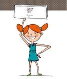 Una ragazza che tiene un'insegna illustrazione di stock