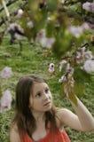 Una ragazza che tiene un ramo dell'albero di fioritura Fotografie Stock Libere da Diritti