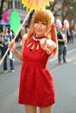 Una ragazza cinese celebra il nuovo anno cinese Immagine Stock