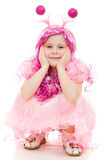 Una ragazza con capelli dentellare in un vestito dentellare Fotografia Stock Libera da Diritti