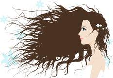 Una ragazza con capelli lunghi fotografia stock