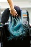 Una ragazza con capelli tinti che si siedono in una sedia allo studio del salone di bellezza Lavoro sopra la dimostrazione Immagine Stock Libera da Diritti