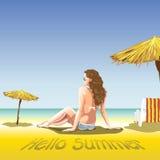 Una ragazza con i vetri di sole ed il vestito di nuoto illustrazione vettoriale