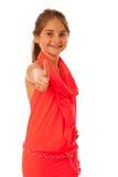 Una ragazza con la posa alla moda dell'indumento isolata sopra bianco fotografia stock