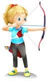 Una ragazza con un arco e una freccia Fotografia Stock