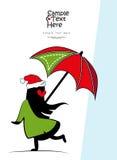 Una ragazza con un ombrello illustrazione vettoriale