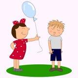 Una ragazza con un pallone e un ragazzo timido royalty illustrazione gratis