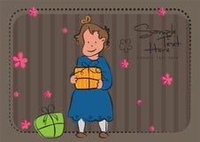Una ragazza con un regalo illustrazione di stock
