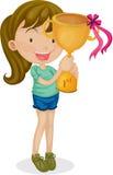 Una ragazza con un trofeo Fotografie Stock Libere da Diritti