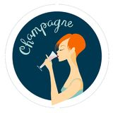 Una ragazza con un vetro di champagne Fotografia Stock
