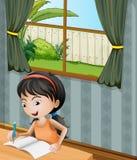 Una ragazza con una scrittura della fascia illustrazione vettoriale