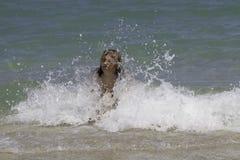 Una ragazza e le onde di oceani Immagini Stock