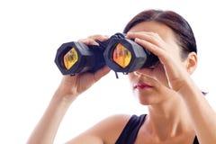Una ragazza e un accoppiamento del binocolo Fotografia Stock
