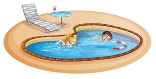 Una ragazza e un nuoto del ragazzo allo stagno royalty illustrazione gratis
