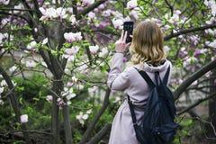 Una ragazza fotografa i fiori sul suo telefono cellulare Ukreina fotografia stock libera da diritti