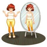 Una ragazza grassa e la sua riflessione scarna Immagini Stock Libere da Diritti