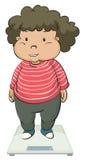 Una ragazza grassa sopra una bilancia Immagine Stock
