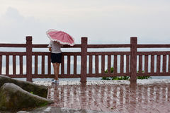 Una ragazza ha tenuto l'ombrello nella pioggia immagini stock libere da diritti