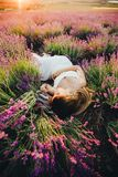 Una ragazza incinta si trova fra la lavanda di fioritura Vista superiore Immagini Stock
