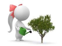 Una ragazza innaffia la pianta Immagine Stock