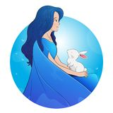 Una ragazza molto bella con un coniglio di pasqua illustrazione vettoriale