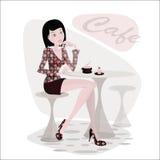 Una ragazza nel caffè Immagini Stock Libere da Diritti