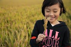 Una ragazza nel giacimento del riso fotografia stock libera da diritti