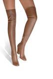 Una ragazza in stivali con un alto colore del caramello della bacchetta hessian Immagine Stock Libera da Diritti