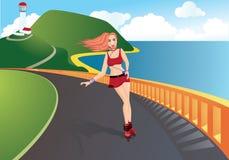 Una ragazza sui pattini di rullo illustrazione di stock