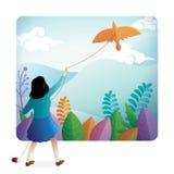 Una ragazza sveglia che gioca aquilone all'aperto con un bello paesaggio sui precedenti illustrazione vettoriale