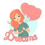 Una ragazza sveglia con la tenuta dei capelli dello zenzero balloons illustrazione vettoriale