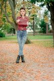 Una ragazza in un Kurta di cuoio Immagine Stock Libera da Diritti