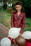 Una ragazza in un Kurta di cuoio Fotografia Stock Libera da Diritti