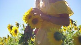 Una ragazza in un vestito giallo con i girasoli in sue mani Primo piano stock footage