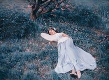 Una ragazza in un vestito nazionale giapponese del kimono si trova sotto sakura di fioritura in petali rosa Una bella addormentat immagini stock libere da diritti