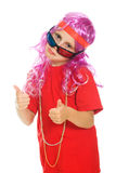 Una ragazza in vestiti operati e vetri 3d Fotografia Stock Libera da Diritti