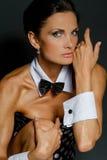 Una ragazza weared come playboy Fotografia Stock