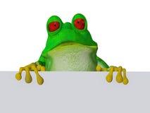 Una rana sveglia del fumetto che tiene un segno in bianco Immagini Stock Libere da Diritti