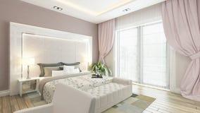 Una rappresentazione 3d della camera da letto moderna con la parete rosa Fotografia Stock Libera da Diritti