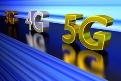 Una rappresentazione 3D della rete accelera la corsa su una superficie brillante Fotografie Stock