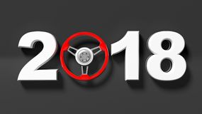 una rappresentazione 3D di 2018 con il volante del ` s dell'automobile come zero Immagini Stock